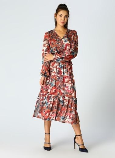 Fabrika V Yaka Fırfırlı Çiçekli Midi Elbise Renkli